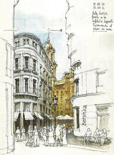 Wish I could sketch like this when I travel! -Málaga, calle Larios by Luis_Ruiz, via Flickr