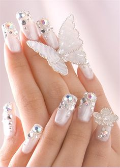 Gold and White Wedding. Manicure, Pedicure, Nails. wedding bling nails. Glitter, Rhinestone Butterfly Flower Design.