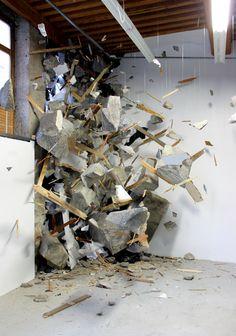 instal art, contemporary art installation, explosion art, grey face, boom, installation art, art installations, frozen explos, installations art