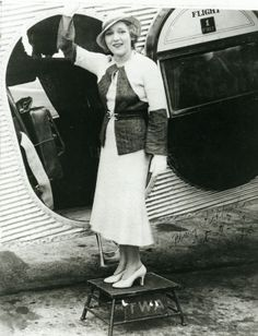 Actress Mary Pickford boarding a TWA Ford Tri-motor in St. Louis, 31 July 1932. Missouri History Museum