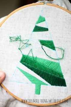 DIY Satin Stitch Christmas Tree Pillow…