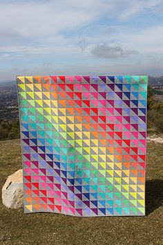 Rainbow HST Quilt Don't mess with my rainbow (or with my unicorn) by Buttontree Lane, via Flickr