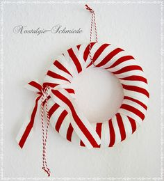 Red & White ribbon christmas wreath