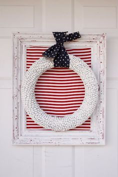 Patriotic Wreath ~ love! #fourth #of #july #fourthofjuly #party #idea #ideas #funideas #coolideas #food #foodie #yum #independence #day #family #fun #cookout #cookouts #grill #dessert #desserts #redwhiteandblue www.gmichaelsalon.com