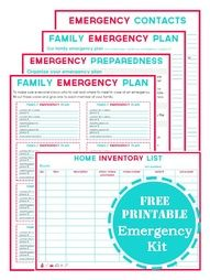 Emergency preparedness printables