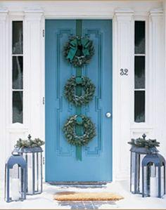 Faux Wreath Front Door idea