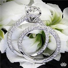"18k White Gold ""Elena Rounded Pave"" Diamond Engagement Ring and Wedding Ring #Whiteflash #MarkSchneider #DesignerRings"