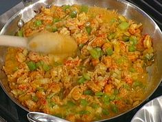crawfish etouffee...so good. I use less butter and chicken broth instead of water.