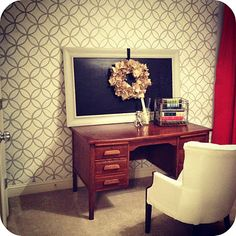 Pretty stenciled home office