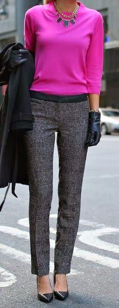 Grey dress pants with black tuxedo stripe, magenta blouse, black or grey blazer or cardigan, black statement necklace
