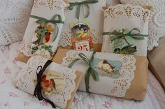 Gathered presents by secrets of a butterfly on Flickr. Kraft paper and white doilies and cavalinni tags with birds on them,and soft ribbon in green and brown. I'd use red ribbon for Valentine's Day.