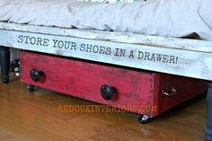 Drawer turned shoe storage.  I used an old drawer to organize my family's shoes and keep them out of sight.  Check out how easy this was to make using CeCe Caldwell's Endurance to protect the finish. REDOUXINTERIORS.COM FACEBOOK: REDOUX