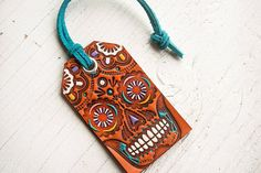 Sugar Skull Leather Tag - Luggage Tag - Pick your suede lace color - Mexicali - Day of the Dead MXS