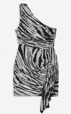 Zebra Print Glitter Party Dress