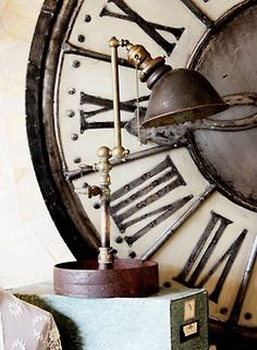 vintage clock lamp & file give a industrial edge