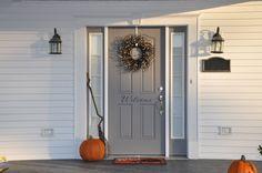 I love this gray front door!