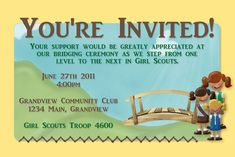 Girl Scouts Bridging Ceremony Invitation