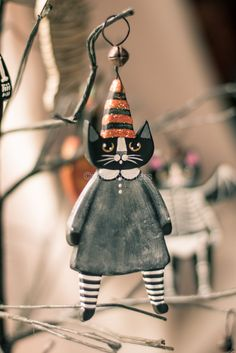 Witch Cat Halloween Clay Folk Art