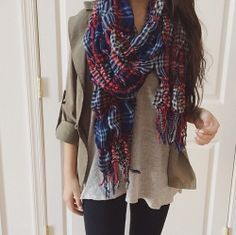 casual look - fashion - outfit - plaid - scarf -style