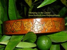 Romping in the Leaves - personalized leather ID dog collar