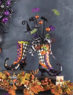 RAZ Witch Boot Resin Halloween Decoration - boot makes a great container for a centerpiece. Just add some spooky sprays and some ribbon! See more of the RAZ Halloween collection at www.trendytree.com