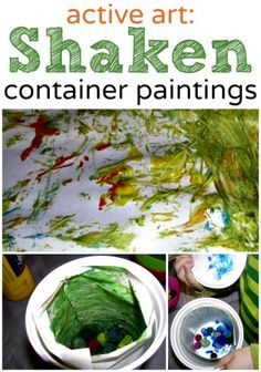 Do an active art project with the kids: shaken container paintings makes lovely prints you can turn into cards or wrapping paper.