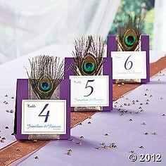 Peacock wedding table numbers