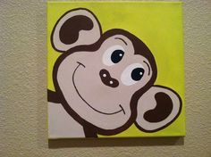 Cute Canvas Painting | Cute Peekaboo MONKEY ...Handpainted Acrylic Painting on Canvas ...for ...