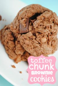 Toffee Chunk Brownie Cookies. Thick and moist with delicious heath bits!!
