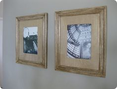 diy burlap matting inspired by pottery barn and upcycled frame