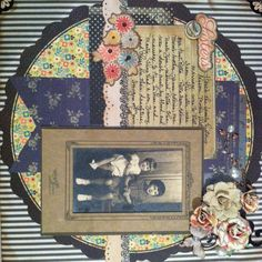 Sisters ~ Pretty heritage page with a striking quilt-like photo matt.
