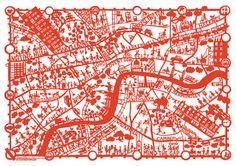 Famille Summerbelle  London cut-paper map