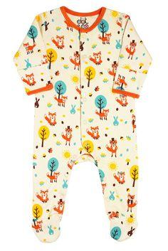 Organic Fox Print Babygrow