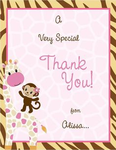 24 Jungle Jill Baby Shower Thank You Cards by BugaboosDesigns, $10.99