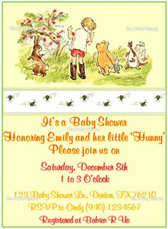 Winnie the Pooh Baby Shower Invitation by ThePartySmarty on Etsy, $10.00