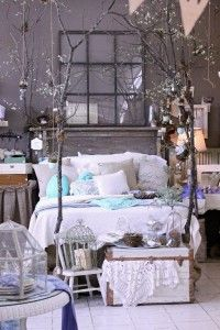 headboard, beds, color, dream, shabby chic, trees, window panes, tree branches, bedrooms