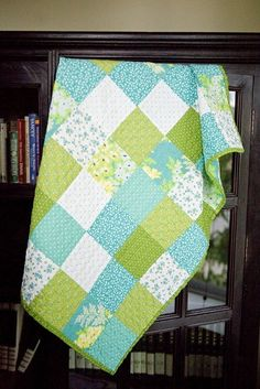 lovely green and aqua patchwork by whimsy quilts.