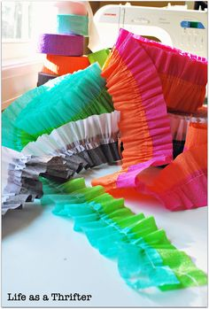 run crepe paper streamers through the sewing machine
