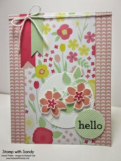 Summer Silhouettes and Hello Darling stamp sets, All Abloom DSP, Pistachio Pudding, Crisp Cantaloupe, and Strawberry Slush ink