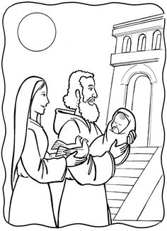 The presentation of Our Lord in the temple Catholic Coloring Page