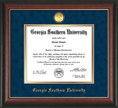 Georgia Southern University Diploma Frame: Premium hardwood moulding w/GSU medallion and school name embossed in gold - Navy Suede on Gold mat.  A great graduation gift! southern diploma, graduation gifts, southern univers, diploma frame, georgia southern, univers diploma, premium hardwood, hardwood mould, graduat gift