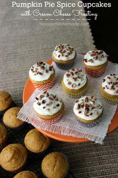 Pumpkin Pie Spice Cupcakes with Cream Cheese Frosting | Recipe on HoosierHomemade