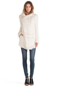 $895 June Oversized Rabbit Fur Jacket in Putty
