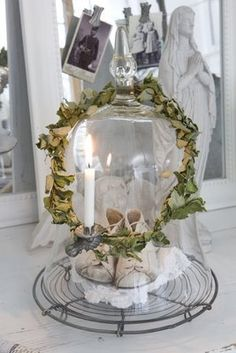 Cloche with wreath