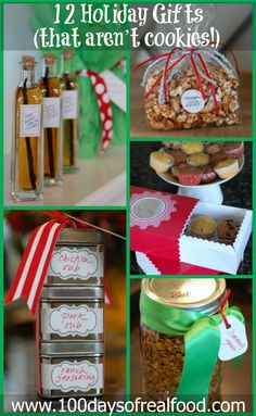 12 Holiday gifts that arent cookies from 100 Days of Real Food...great ideas including cinnamon-glazed popcorn, vanilla extract, spice rubs, whole-grain muffins and more!