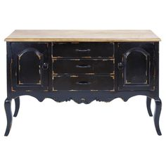 Wood credenza in antiqued black with 3 drawers, 2 side cabinets, and a natural top.    Product: CredenzaConstruction Mate...
