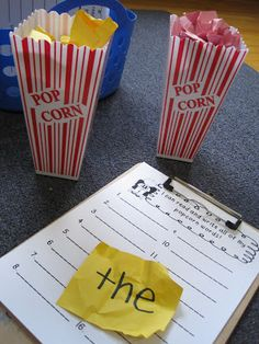Popcorn Words... Easy and fun! Write sight words on piece of paper, crumple up and put into popcorn container. Child picks a piece, reads it & writes it!  Check out the blog post for a FREE recording sheet.