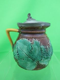 Antique Majolica Maple Leaf Syrup w/ Pewter Lid antiqu shopp, susan antiqu, antiqu majolica