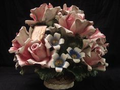 Large Capodimonte Roses in Basket Made in Italy Porcelain Signed with COA | eBay