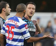 Chelsea captain John Terry, right, was found guilty of racially abusing Queens Park Rangers' Anton Ferdinand, left, during a Premier League match in October 2011. John Terry was handed a four-match ban and fined $356,000 by the English Football Association.  http://www.thestar.com/sports/soccer/article/1276900--ferdinand-brothers-say-racism-cases-expose-deep-divisions-in-english-soccer?